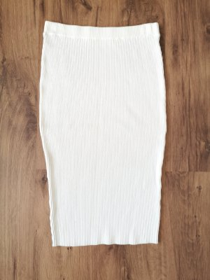HM Spódnica ze stretchu w kolorze białej wełny