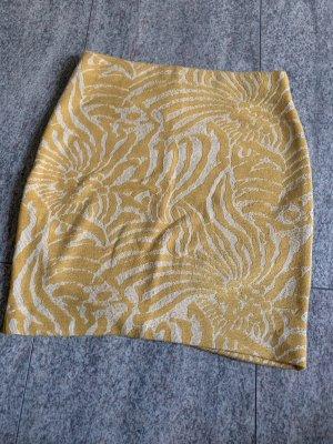 H&M Basic Asymetryczna spódniczka złotopomarańczowy-biały