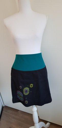 Falda de lino negro-azul cadete