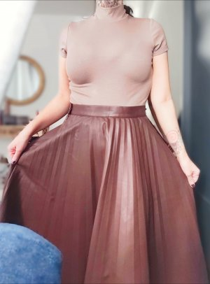 H&M Pleated Skirt light brown-brown