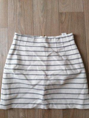 H&M Falda de lino blanco-azul oscuro