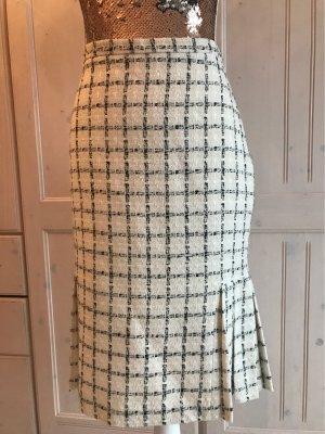 Zara Basic Tweedowa spódnica czarny-w kolorze białej wełny