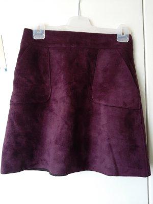 Mint&berry Asymmetrische rok bruin-paars-donkerpaars