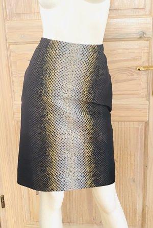 Cédric Charlier High Waist Skirt black-lime yellow