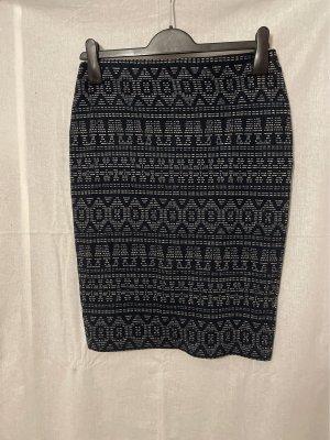 Pimkie Spódnica ze stretchu biały-ciemnoniebieski