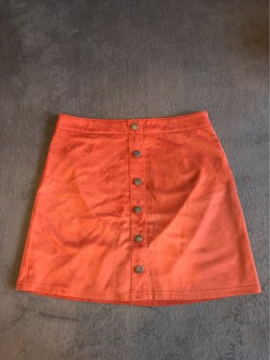Takko Fashion Faux Leather Skirt salmon
