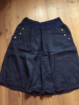 Lniana spódnica ciemnoniebieski