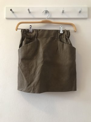 Zara Faux Leather Skirt light brown-grey brown