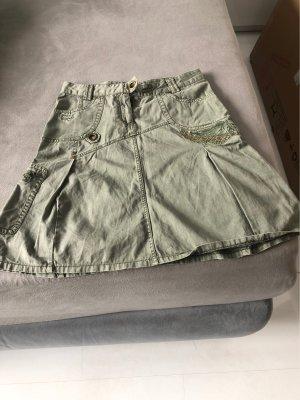 Falda asimétrica caqui-gris verdoso