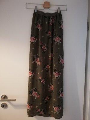 H&M Maxi rok stoffig roze-khaki