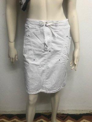 Oui Spódnica midi biały Bawełna