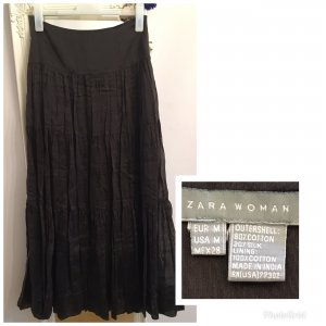 Zara Woman Falda de lino taupe Algodón