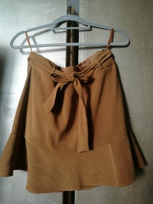 Faux Leather Skirt bronze-colored-camel