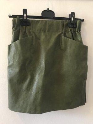 Zara Spódnica z imitacji skóry zielono-szary-khaki