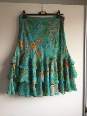 Joy Broomstick Skirt turquoise-orange