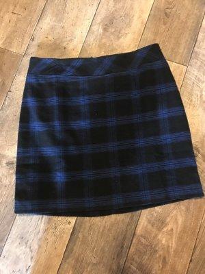 Wollen rok donkerblauw-zwart