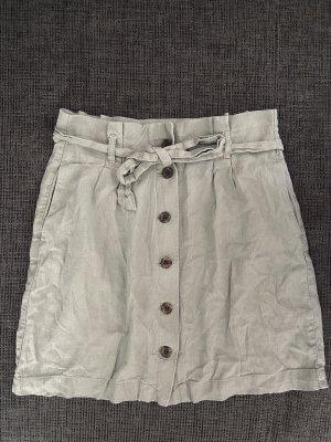 H&M Linen Skirt green grey-sage green