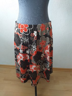Spódnica z koła ciemnobrązowy-ciemny pomarańcz
