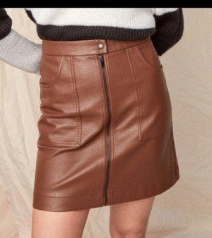 Spódnica z imitacji skóry cognac-brązowy