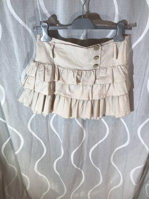 Spódnica z falbanami kremowy