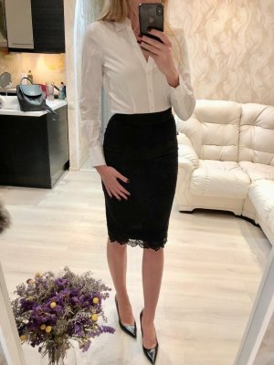 Alaïa Falda midi negro-azul oscuro