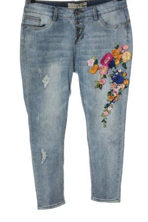 Rock angel Jeans a sigaretta blu motivo floreale stile casual