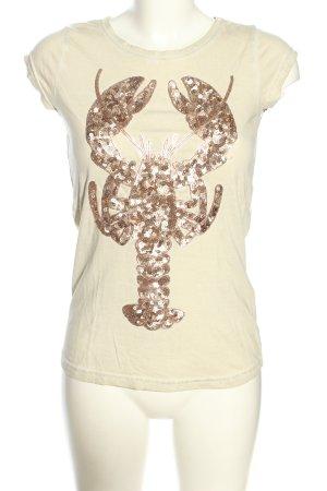 Rock angel T-shirt crema-bronzo Stampa a tema stile casual
