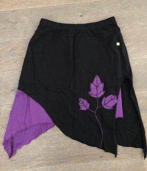 Rock asymmetrisch Baumwolle Blätter schwarz lila