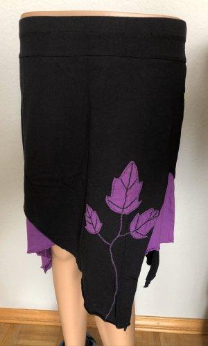 Ohne Jupe asymétrique noir-bleu violet coton
