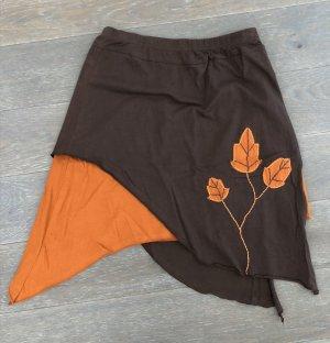 Rock asymmetrisch Baumwolle braun/rust L/XL