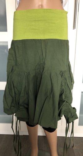 Ohne Asymmetry Skirt khaki-meadow green cotton
