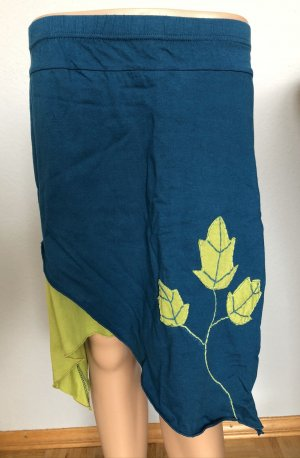 ohne Etikett Jupe asymétrique bleu pétrole-vert prairie coton