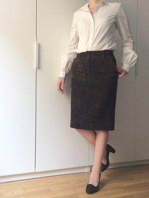 Rock aus echtem Leder (Rauleder) / braun / knielang / office wear
