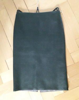 Zara Spódnica z imitacji skóry petrol-ciemnozielony Poliuretan