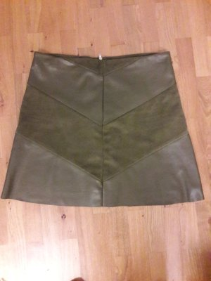 Jacqueline de Yong Faux Leather Skirt olive green polyester