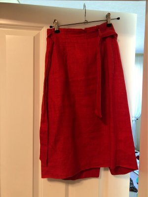 René Lezard Lniana spódnica czerwony