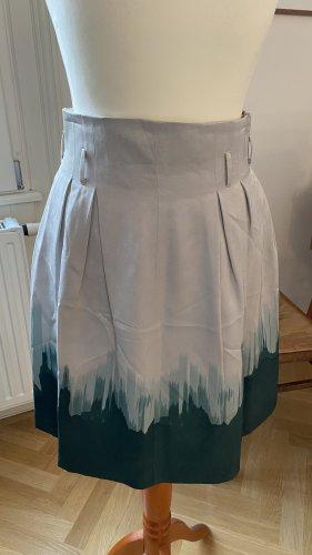 Filippa K High Waist Skirt light grey-forest green silk