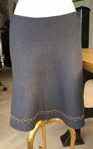 Zara Knit Knitted Skirt dark grey-gold-colored