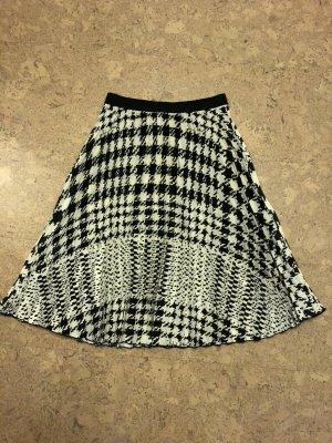 H&M ANGORA BLEND Jupe plissée noir-blanc cassé