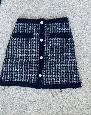 Tweed rok donkerblauw