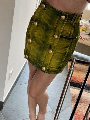 Balmain Mini-jupe jaune-bleu
