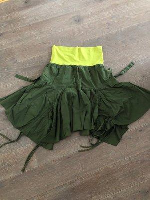 Jupe asymétrique kaki-vert prairie coton