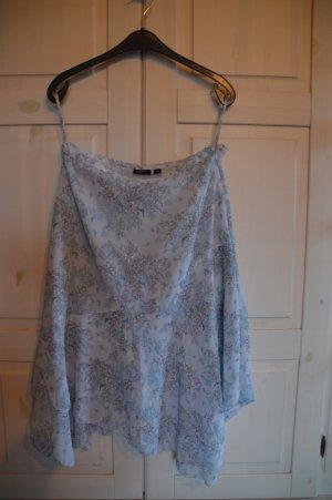 Lindex Fringed Skirt baby blue-beige polyester