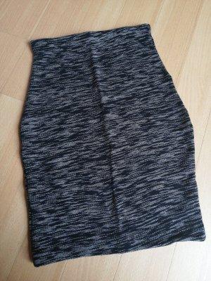 Rock Bleistiftrock meliert schwarz grau handmade