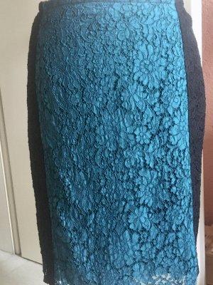 Unikat - Maßanfertigung Jupe en taffetas bleu pétrole-noir dentelle