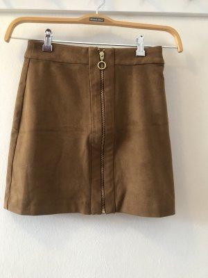 H&M Faux Leather Skirt cognac-coloured-brown