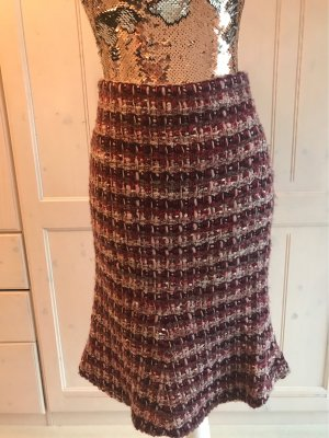 Zara Tweed Skirt pink-bordeaux mixture fibre