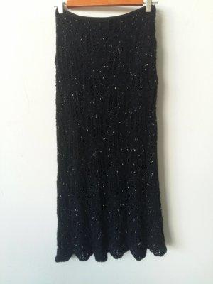Falda de punto negro Lana