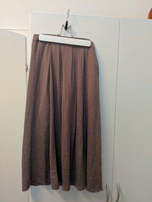 Mango Falda de lino marrón arena