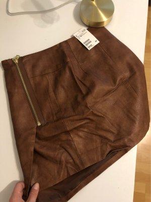 H&M Falda de cuero marrón-color oro